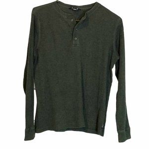 Karbon Men's Olive Green Full Sleeve Button v neck